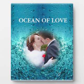 Colorful Blue Ocean Bubbles - Wedding Kiss, Plaque