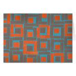 Colorful blue orange squares design stationery note card