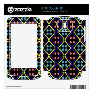 colorful blue orange yellow dot pattern decals for HTC touch HD