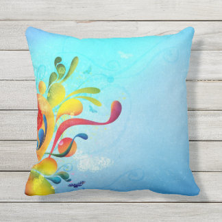 Colorful Blue Outdoor Pillow