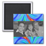 Colorful blue photo frame refrigerator magnets