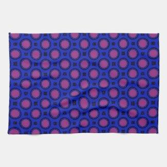 colorful blue pink circles pattern mojo_kitchentowel