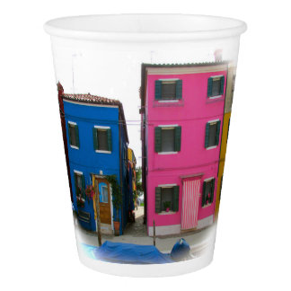 Colorful Blue & Pink Homes in Italy Party Cups