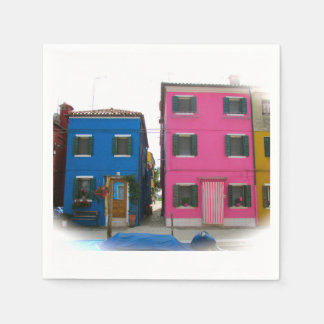 Colorful Blue & Pink Homes in Italy Sm. Napkins
