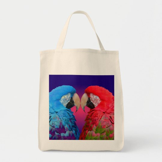 Colorful blue & pink macaw or parrot tote bag