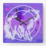 Colorful Blue & Pink Unicorn Decorative Square Wall Clock