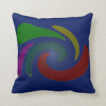 colorful blue pop art abstract throw pillows