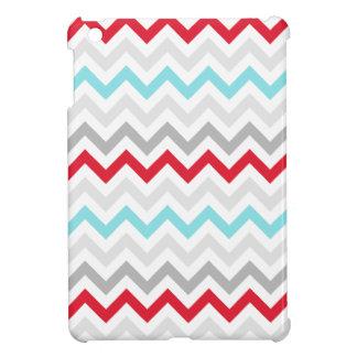 Colorful Blue Red Grey Zig Zag Chevrons iPad Mini Cover
