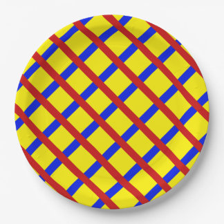 colorful Blue Red Stripe Net Pattern on Yellow Paper Plate