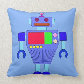 COLORFUL BLUE ROBOT Throw Pillow