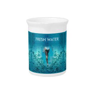 Colorful Blue Sea Bubbles - Bikini Girl Swim, Beverage Pitcher