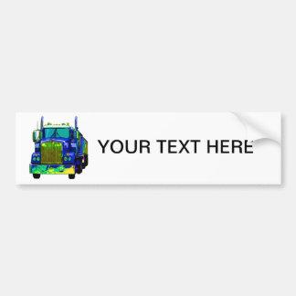 Colorful Blue Semi Truck Car Bumper Sticker