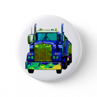 Colorful Blue Semi Truck Pinback Button