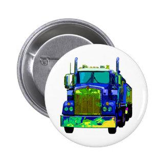 Colorful Blue Semi Truck Pinback Button