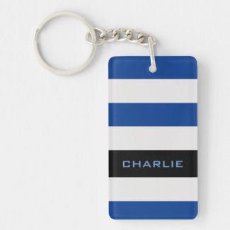 Colorful Blue Stripes with Custom Name