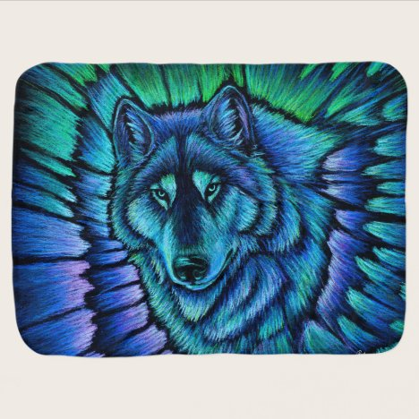 Colorful Blue Wolf Aurora Baby Blanket