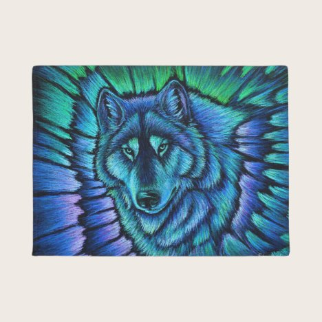 Colorful Blue Wolf Aurora Door Mat