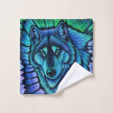 Colorful Blue Wolf Aurora Fantasy Bath Towel Set