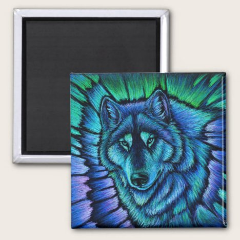 Colorful Blue Wolf Aurora Fantasy Magnet