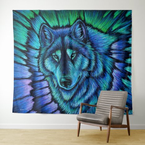 Colorful Blue Wolf Aurora Fantasy Tapestry