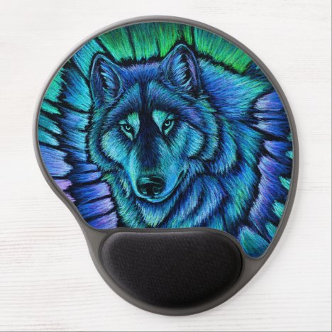 Colorful Blue Wolf Aurora Gel Mousepad