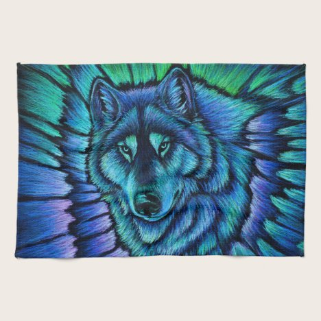 Colorful Blue Wolf Aurora Kitchen Towels