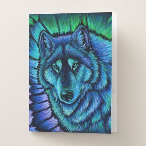 Colorful Blue Wolf Aurora Pocket Folders
