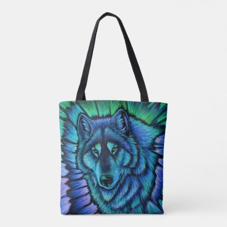 Colorful Blue Wolf Aurora Tote Bag