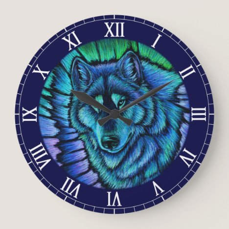 Colorful Blue Wolf Aurora Wall Clock