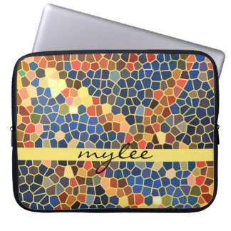 Colorful Blue Yellow Orange Abstract Funky Mosaic Computer Sleeves