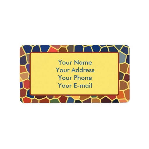 Colorful Blue Yellow Orange Abstract Funky Mosaic Personalized Address Label