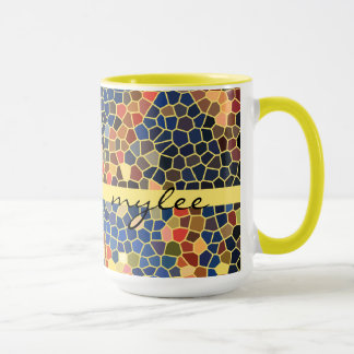 Colorful Blue Yellow Orange Abstract Funky Mosaic Mug