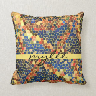 Colorful Blue Yellow Orange Abstract Funky Mosaic Throw Pillows