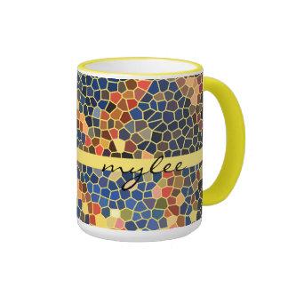 Colorful Blue Yellow Orange Abstract Funky Mosaic Ringer Mug