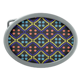 Colorful blue yellow orange dots pattern oval belt buckle