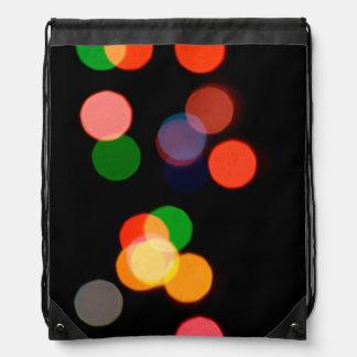 Colorful blurry dreamlike bokeh pattern drawstring bag