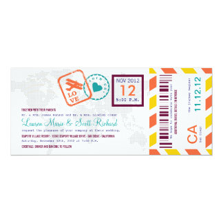 Colorful Boarding Pass Airmail Ticket Invitation