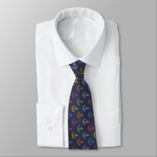 Colorful Boat Anchor Midnight-Blue Background Tie