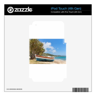Colorful boat lying on greek beach iPod touch 4G decal