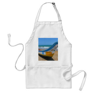 Colorful Boat on Sandy Beach Ocean Scene Adult Apron