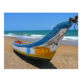 Colorful Boat on Sandy Beach Ocean Scene Postcard