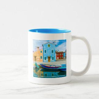 Colorful Boat Scene |Venetian Lagoon Two-Tone Coffee Mug
