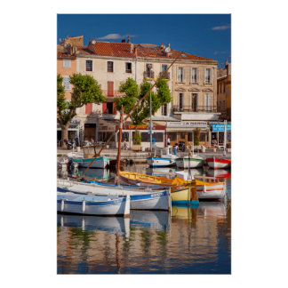 Colorful boats in the small harbor poster
