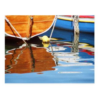 Colorful boats postcard