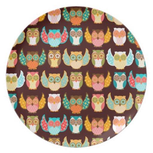 Colorful Boheme Owls Pattern Party Plates