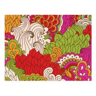Colorful Bohemian Boho MOD Hippy Chic Pattern Postcard