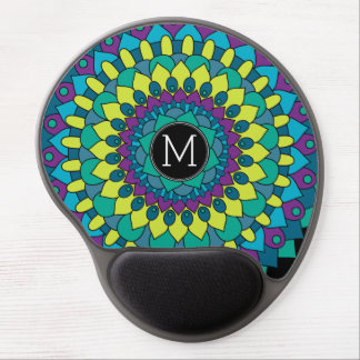 Colorful Bohemian Flower with Custom Monogram Gel Mouse Pad