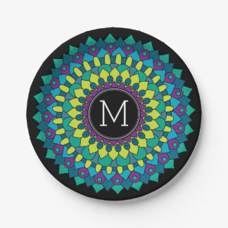 Colorful Bohemian Flower with Custom Monogram Paper Plate