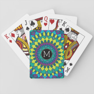 Colorful Bohemian Flower with Custom Monogram Poker Deck