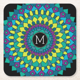 Colorful Bohemian Flower with Custom Monogram Square Paper Coaster